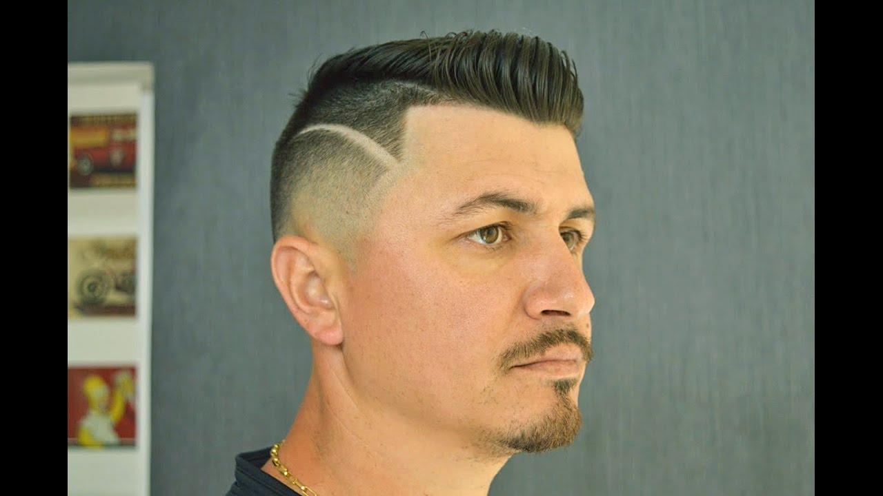 Cabelo Masculino Degradê Com Risco Curso De Barbeiros