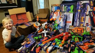 Outdoor Nerf War 20x20!!! Unboxing 60 Guns   4000 Rounds Of Ammo