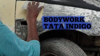 Total loss TATA INDIGO Body work | Bodyfiller Application
