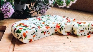 Домашний сыр с паприкой и зеленью - рецепт