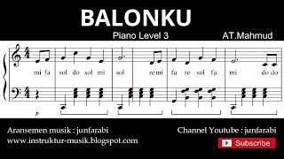 notasi balok balonku - tutorial piano level 3 - not lagu anak indonesia - instrumentalia