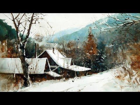 Watercolor Landscape Winter Paintings Slideshow - Artist Michaeł Jasiewicz - Poland - Part 2