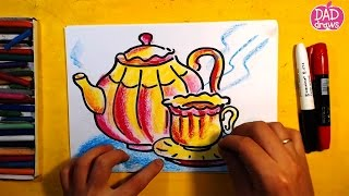 How to draw a Chinese Teapot and Cups / Art for Kids