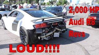 2,000 Horsepower AUDI R8 V10 PLUS TWIN TURBO LOUD BRUTAL REVVING and Acceleration leaving car show