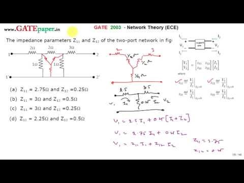 gate 2003 ece find z parameters z11 and z12 of given circuit youtube rh youtube com