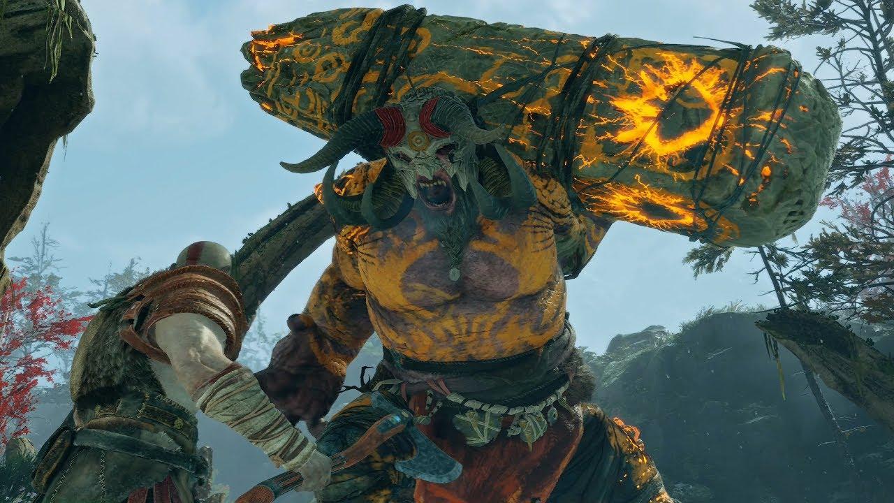 God of War PS4 - Fire Troll Boss Fight #3 (Give Me God of War Hard Difficulty) (4K)
