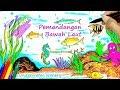 Cara Menggambar Pemandangan Bawah Laut & Mewarnai untuk Anak anak