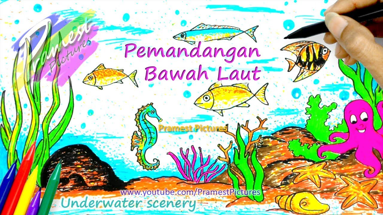 How To Draw Underwater Scenery Coloring Pages For Kids
