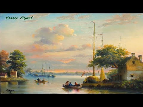 Oil Painting Landscape Nice Morning by Yasser Fayad