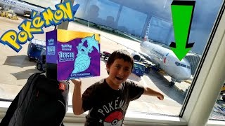 OPENING at 35,000ft! POKEMON CARDS ON AN AIRPLANE! NEW & EARLY DRAGON MAJESTY ELITE TRAINER BOX!