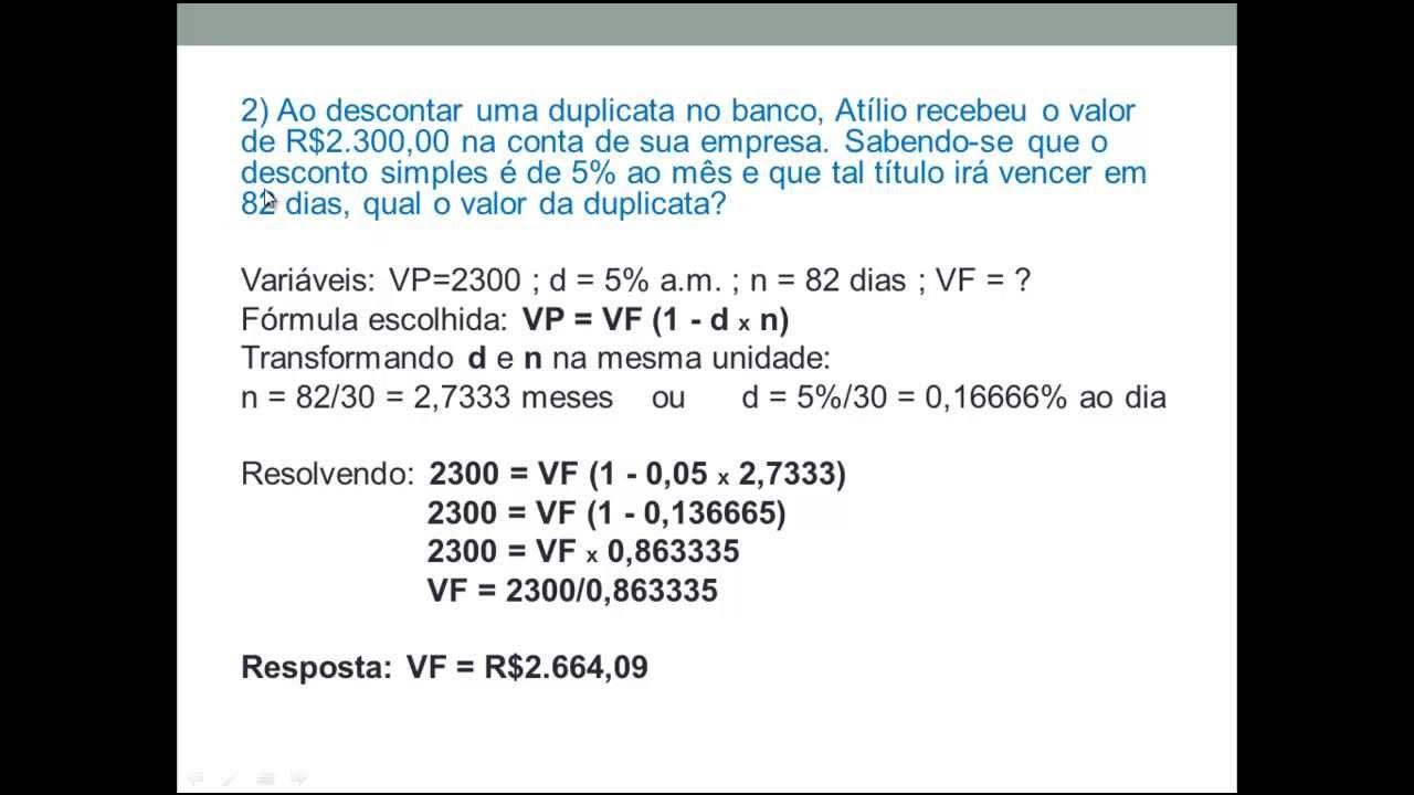 Aula 2 de Matemática Financeira: Desconto simples - YouTube