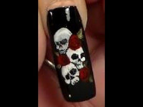 Nail Art 3 Skulls N Roses Youtube