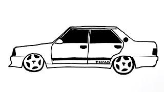 Modifiyeli Tofaş Şahin Çizimi - Kolay Araba Çizimi