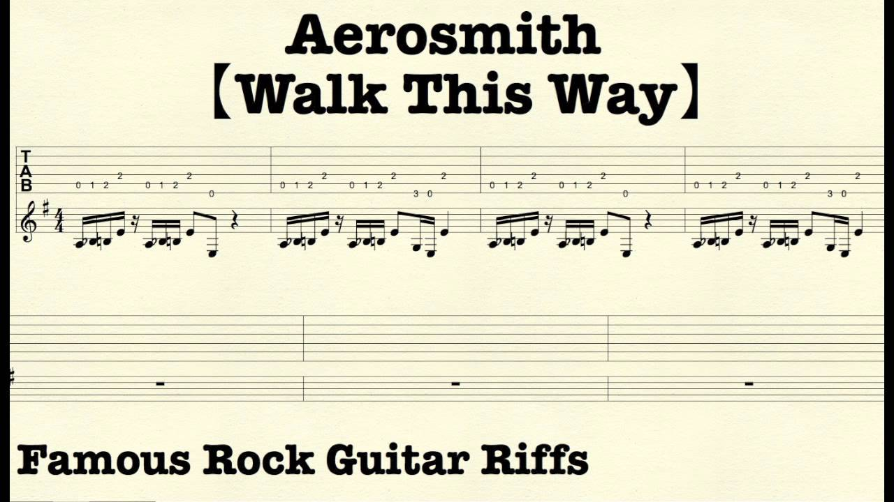 Famous Rock Guitar Riffs With Tabs Walk This Way Aerosmith