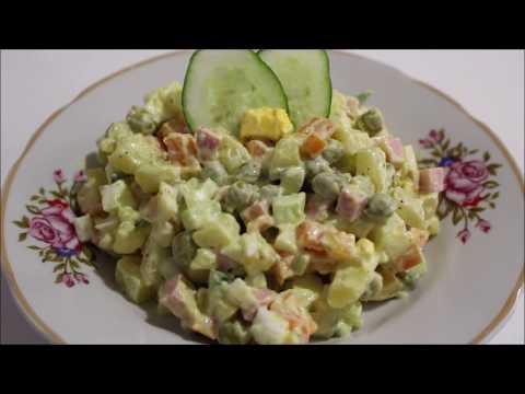 Как приготовить салат оливье с колбасой и свежим огурцом