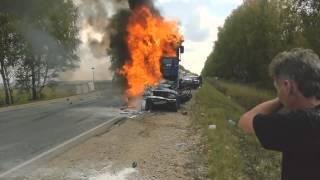 Ужасное ДТП  - Фура и ВАЗ (Пасажиры сгорели заживо) и еще  7 автомобилей пострадали