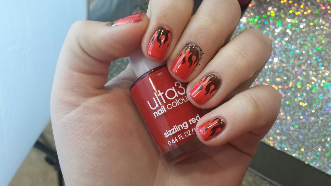 Fire Nails! - Ombre Nails with Stamping