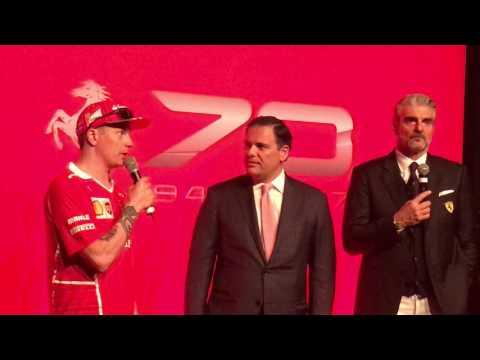 Kimi Raikkonen, Maurizio Arrivabene and Edwin Fenech at Montreal Ferrari event