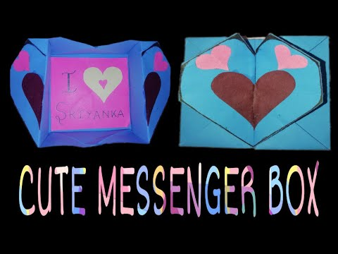 MAKING OF CUTE MESSENGER BOX-ORIGAMI HEART BOX-DIY SECRET MESSAGE CARD