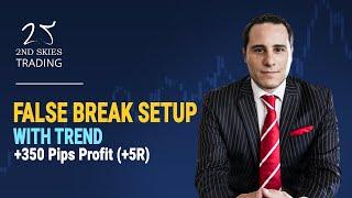 False Break Setup With Trend +350 Pips Profit (+5R)