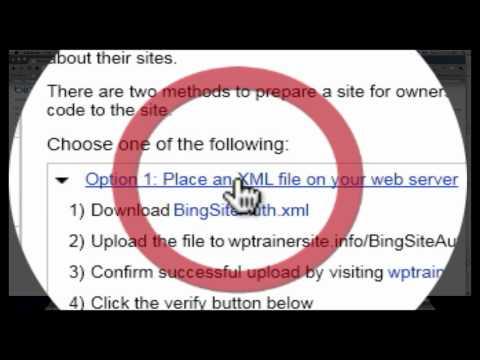 Bing Webmaster Tool Box Site Verification