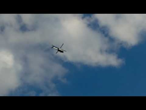 TRUMP LEAVES HAMBURG(GERMANY) BY MARINE ONE FROM RIVER ALSTER FOR AIR FORCE ONE 07/08/17 G20 SUMMIT
