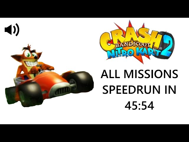 Crash Bandicoot Nitro Kart 2 All Missions Speedrun in 45:54 (Live Commentary)