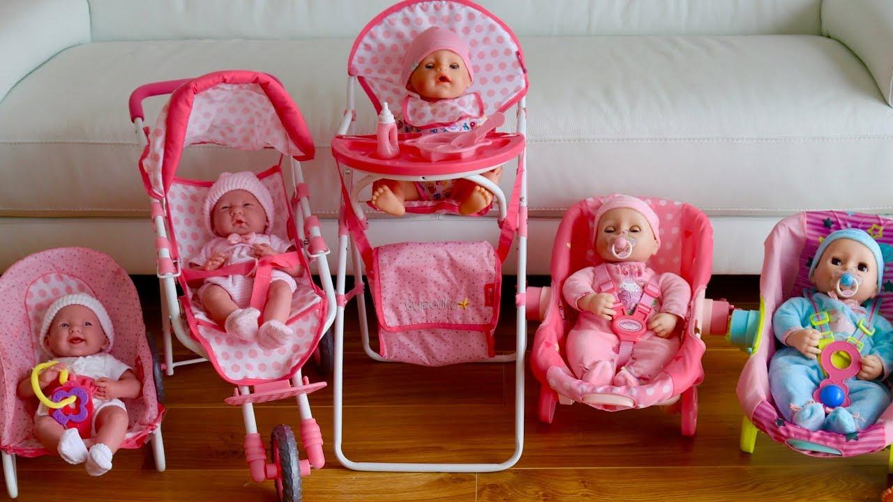 Baby Dolls Nursery Set Dolls Pram Highcair Playpen Swing