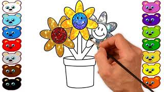 How TO Draw & Color A Flower Pot For Children | Kids Coloring Pages