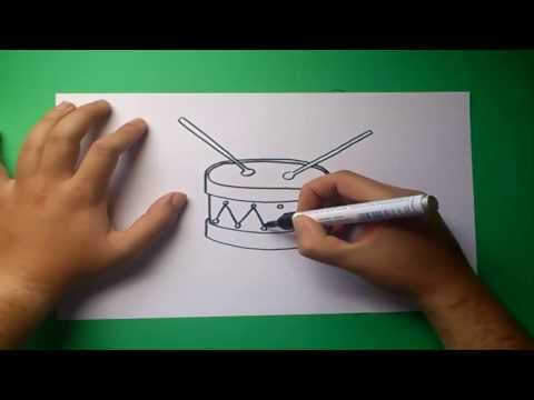Como dibujar un tambor paso a paso | How to draw a drum