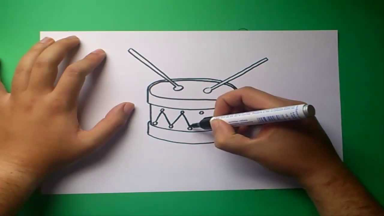 Como dibujar un tambor paso a paso  How to draw a drum  YouTube