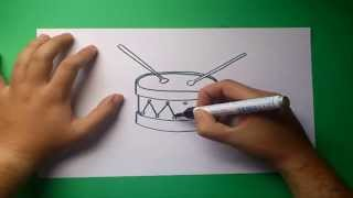 Como dibujar un tambor paso a paso | How to draw a drum