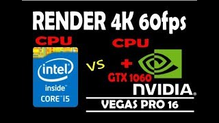 INTEL i5 4570 vs NVIDIA GTX 1060 RENDER 4K 60fps
