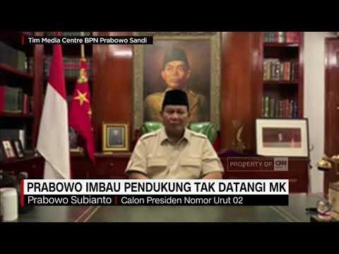 Prabowo Minta Pendukungnya Tak Datangi MK