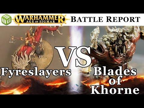 Fyreslayers vs Blades of Khorne Age of Sigmar Battle Report - War of the Realms Ep 180