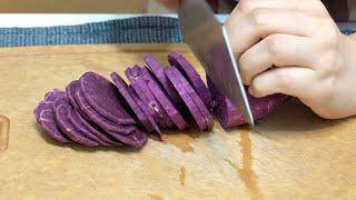 素食家常菜料理│紫薯別再煮甜湯了,不放一滴水,這樣做出來Q彈香酥超好吃,大人小孩搶著吃到光│Vegan Recipe │EP201