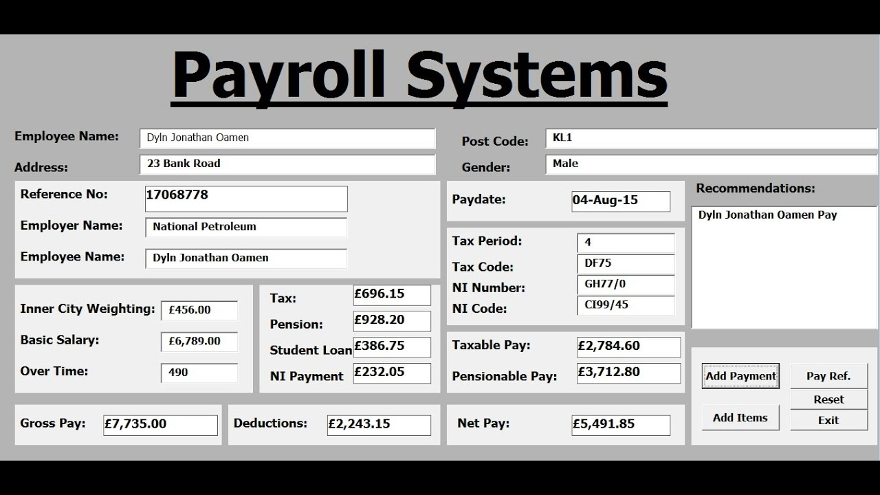 How to Create Payroll Systems in Excel Using VBA - Full Tutorial ...