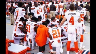 TWELVE Cleveland Browns Take A Knee In Solidarity With Kaepernick
