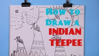 How to Draw a Indian Teepee - Great Artist Mom - Guided Drawing