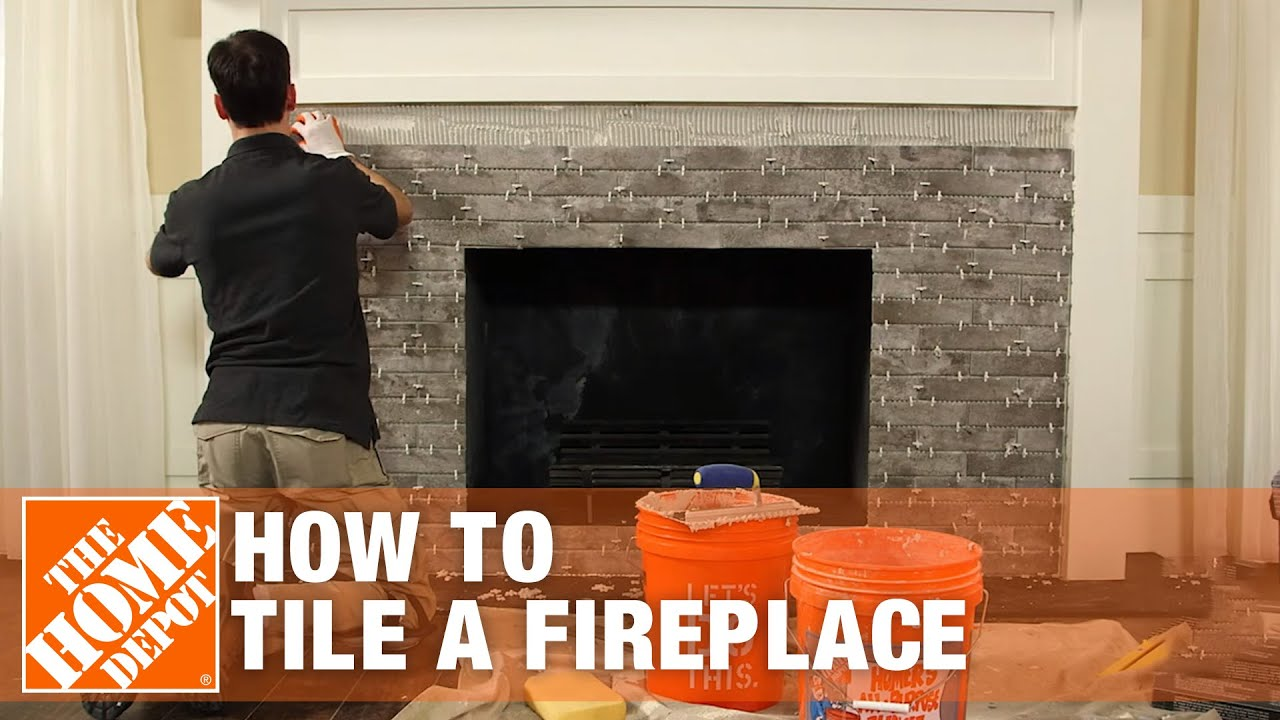tiling a fireplace diy project the home depot