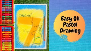 Easy Oil Pastel Drawing for Kids | MS Dhoni Drawing | Oil Pastel Art for Kids | A Tribute to Dhoni