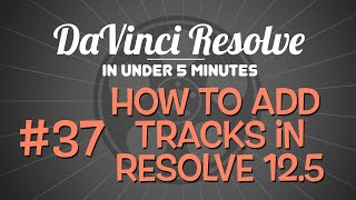 DaVinci Resolve in Under 5 Minutes: Adding Tracks to the Timeline in Resolve 12.5