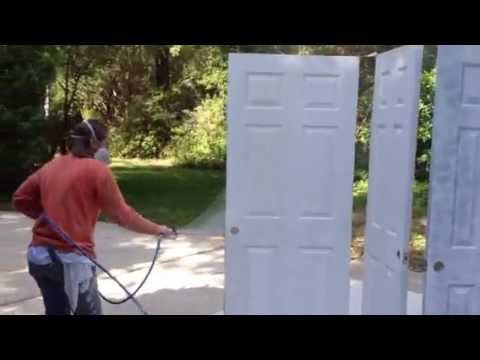 Spraying interior doors interior house painting youtube for How to spray paint doors
