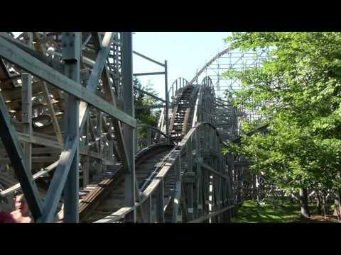 Excalibur Roller Coaster Front Seat POV Wooden Funtown Splashtown Saco ME 1080p HD