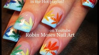 Nail Art Tutorial | 420 Nails | Rainbow Pot Leaf Spring Nail design