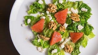 Праздничный салат с грейпфрутом, фетой и грецкими орехами