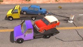 BeamNG drive - Chained Trucks & Cars VS Bollard