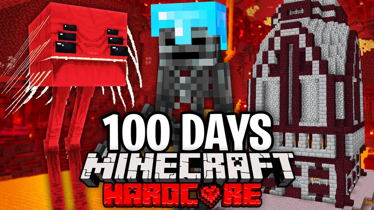 I Survived 100 Days as a WITHER SKELETON in Hardcore Minecraft.. Here's What Happened..