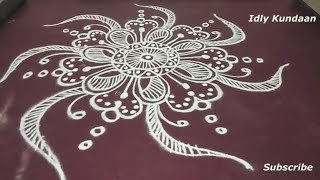 Creative Rangoli Design Pattern in Simple Method | Beautiful Muggulu Rangoli without Dots | Kolam