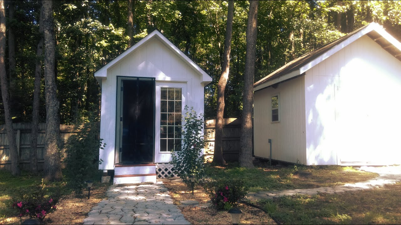 Detached Backyard Home Office 8x12 Shed - YouTube